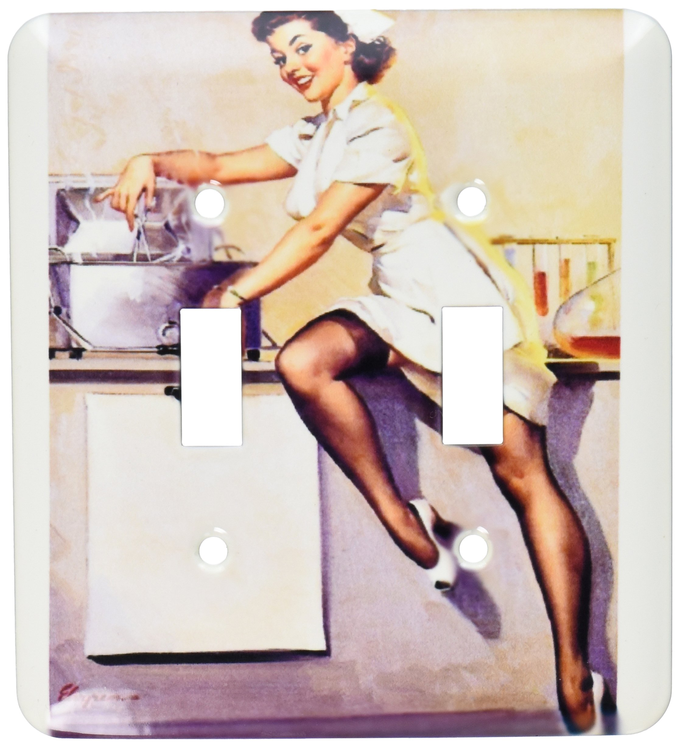 3dRose lsp_171613_2 image of famous elvgren naughty nurse pinup girl - Double Toggle Switch