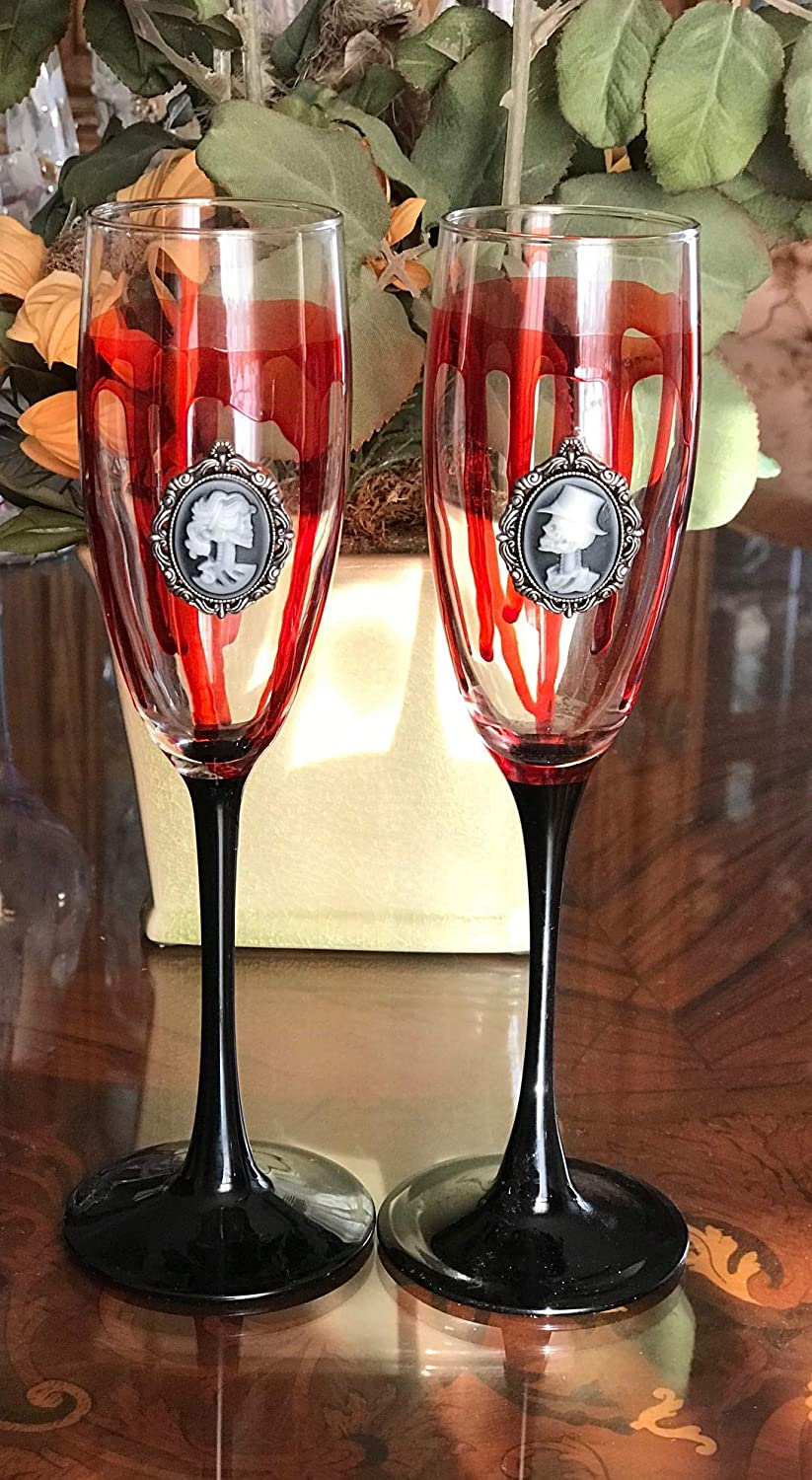 Halloween Party, Wedding, Hand Painted Champagne Glasses
