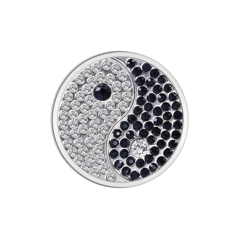 U/&D Coins 33mm Silber Yinyang Anhänger Coin Schmuck Edelstahl 33CO-45