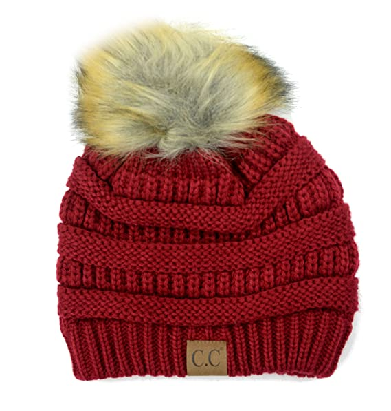 Plum Feathers Soft Stretch Cable Knit Ribbed Faux Fur Pom Pom Beanie Hat  (Burgundy) b7fa3746d69f