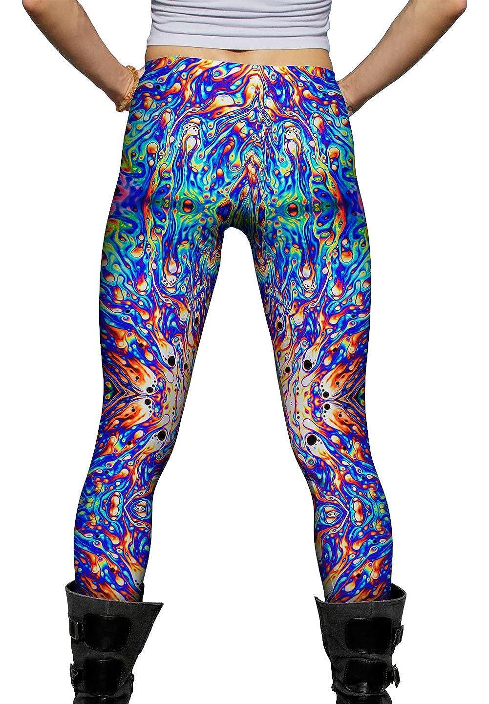 Psychedelic Neon Soap Party Violet Ladies Womens Leggings Yizzam