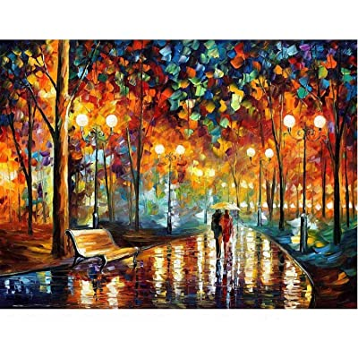 Jigsaw Puzzles for Adults 1000 Piece Family Cool Fun Jigsaw Puzzles Intellectual Game Learning Education Decompression Toys for Adults Kids Landscape Puzzles - Walking in The Rain Night: Toys & Games