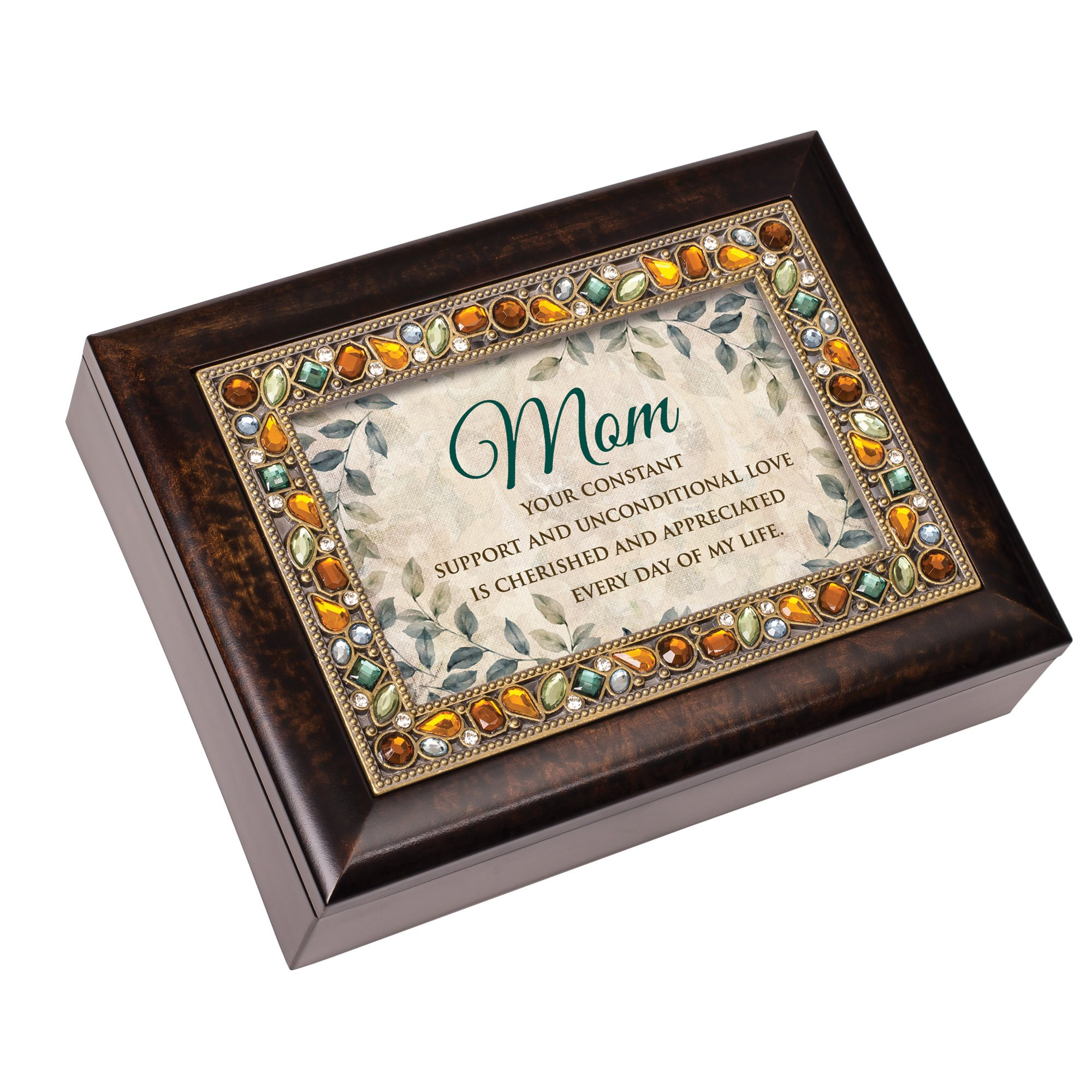 Mom Your Constant Love Everyday Jeweled Amber Earth Tones Keepsake Music Box Plays Edelweiss