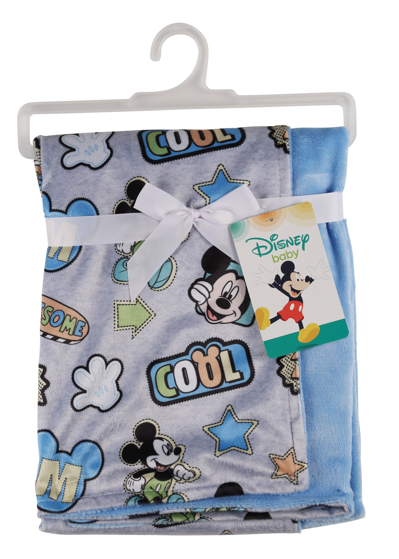 Disney Mickey Mouse Mink and Sherpa Double Sided Infant Blanket, Awesome Print