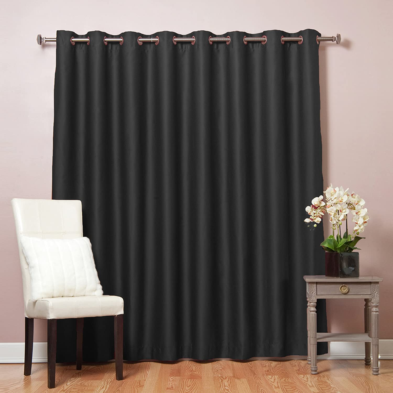 table large blackout and wide wooden extra near black curtains lamp homesfeed