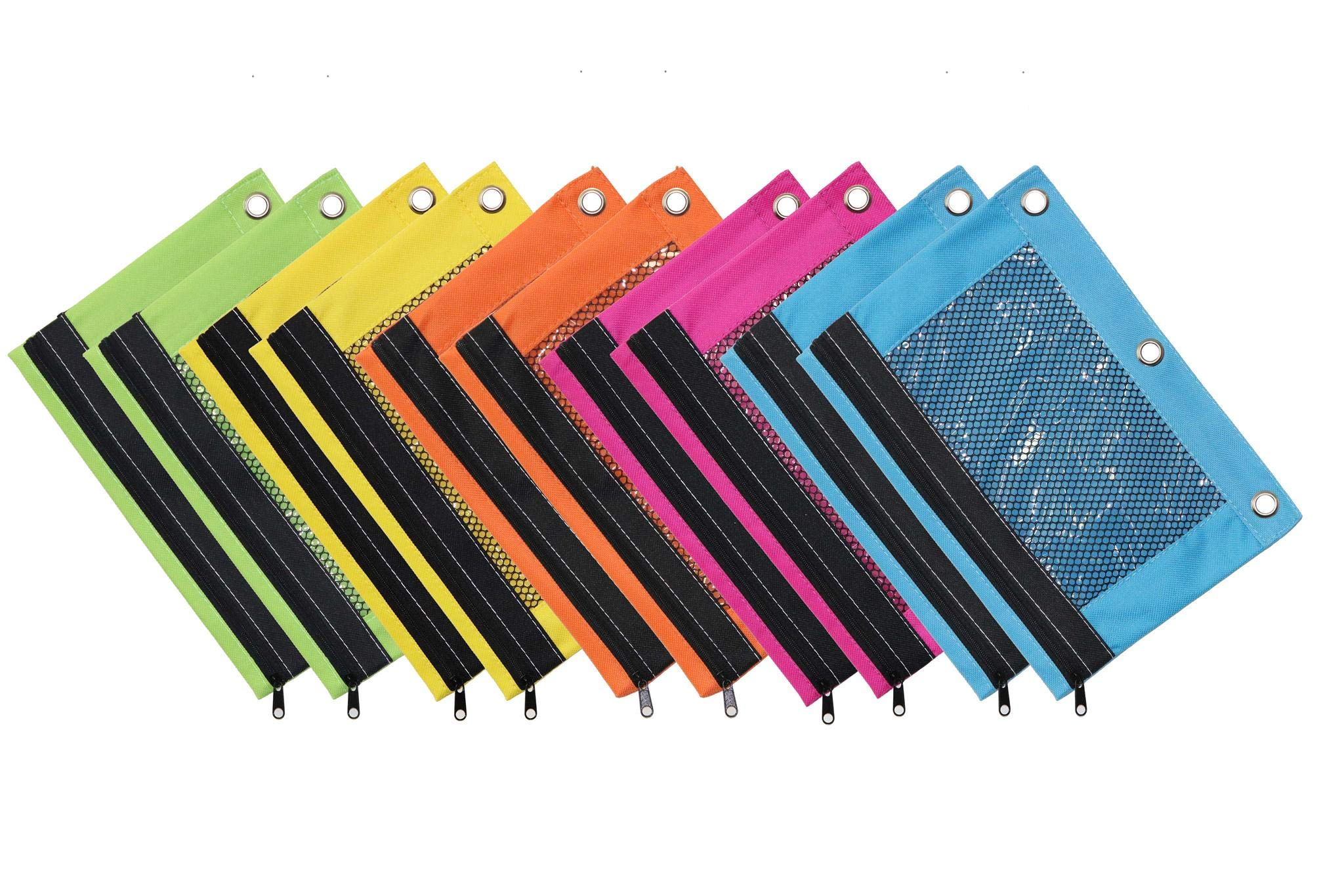 OMURA Bright Color 3-Ring Pencil Pouch w/ Mesh Window, Case Pack 10