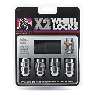 Gorilla Automotive (71621X) 12mm x 1.25 Thread Size Chrome Acorn X2 Wheel Lock, (Pack of 4): Automotive
