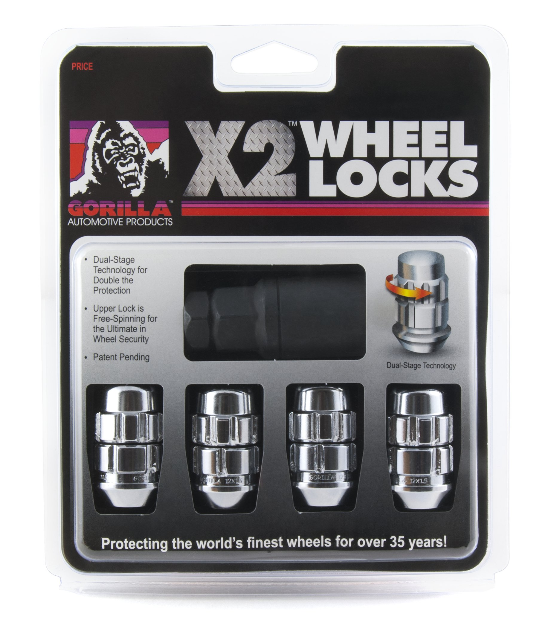 Gorilla Automotive (71641X 14mm x 1.50 Thread Size Acorn Chrome X2 Wheel Lock, (Pack of 4)