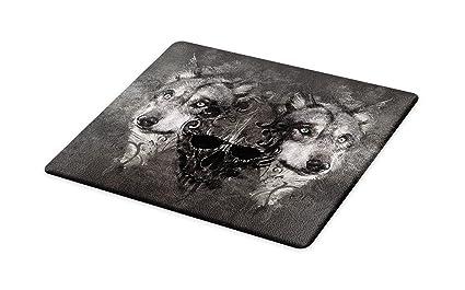 Amazoncom Lunarable Wolf Cutting Board Abstract Skull Figure