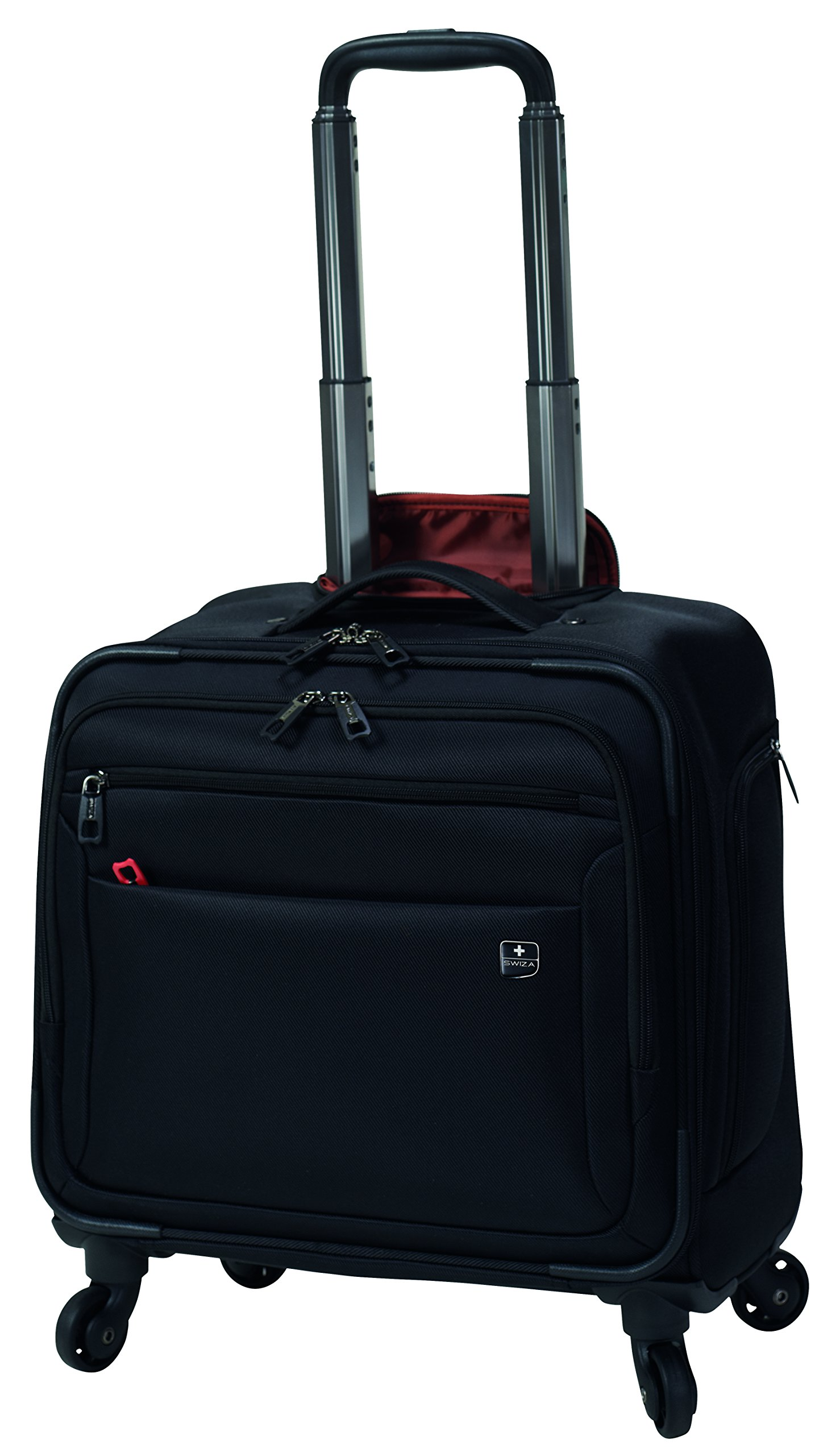 SWIZA Cassus Compact Overnight Business or Weekend Soft-Sided Spinner Luggage - Black by Swiza