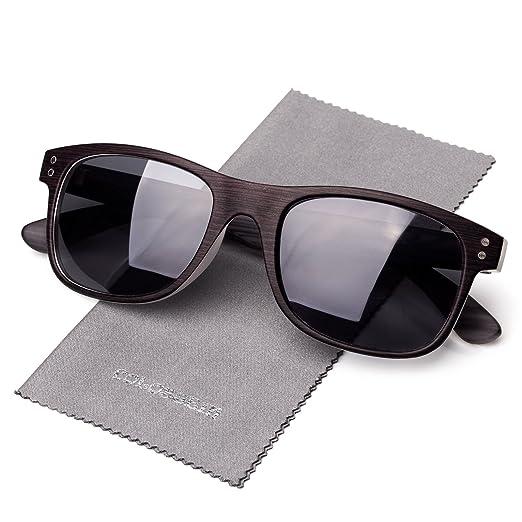 e0e0f6afd9 Polarized Sunglasses For Men Classic Square Sturdy Frame Double Color Wood  Grain Arms Quality Lenses 100