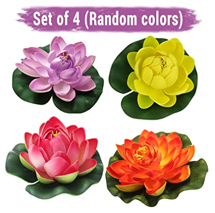 Buy tied ribbons set of 4 artificial floating lotus flowers with tied ribbons set of 4 artificial floating lotus flowers with rubber leaf multicolor mightylinksfo