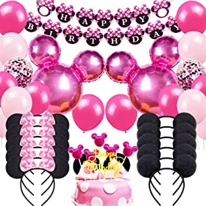Danirora Minnie Mouse Birthday Party Supplies, Minnie Mouse Party Decorations for Girls 1st 2nd 3rd Birthday Decor Pink Balloon Banner and Mouse Ears Headband for Kids