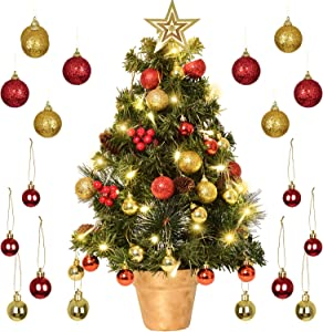 DearHouse 24 inch Tabletop Mini Artificial Christmas Tree Decor with Red Berries Perfect for Indoor and Outdoor Holiday Decoration, Include 29 Gold and Red Ball and Star Treetop Ornaments