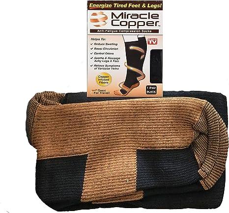 Nouveau Miracle Cuivre chaussettes anti fatigue Compression Noir Unisexe Chaussettes