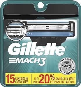 Gillette Mach3 Men's Razor Blade Refills, 15 Count (Packaging May Vary), Mens Razors/Blades
