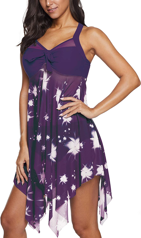 Jouplsar Womens Plus Size Swimsuit 2 Piece Swimdress Mesh Printed Bathing Suits