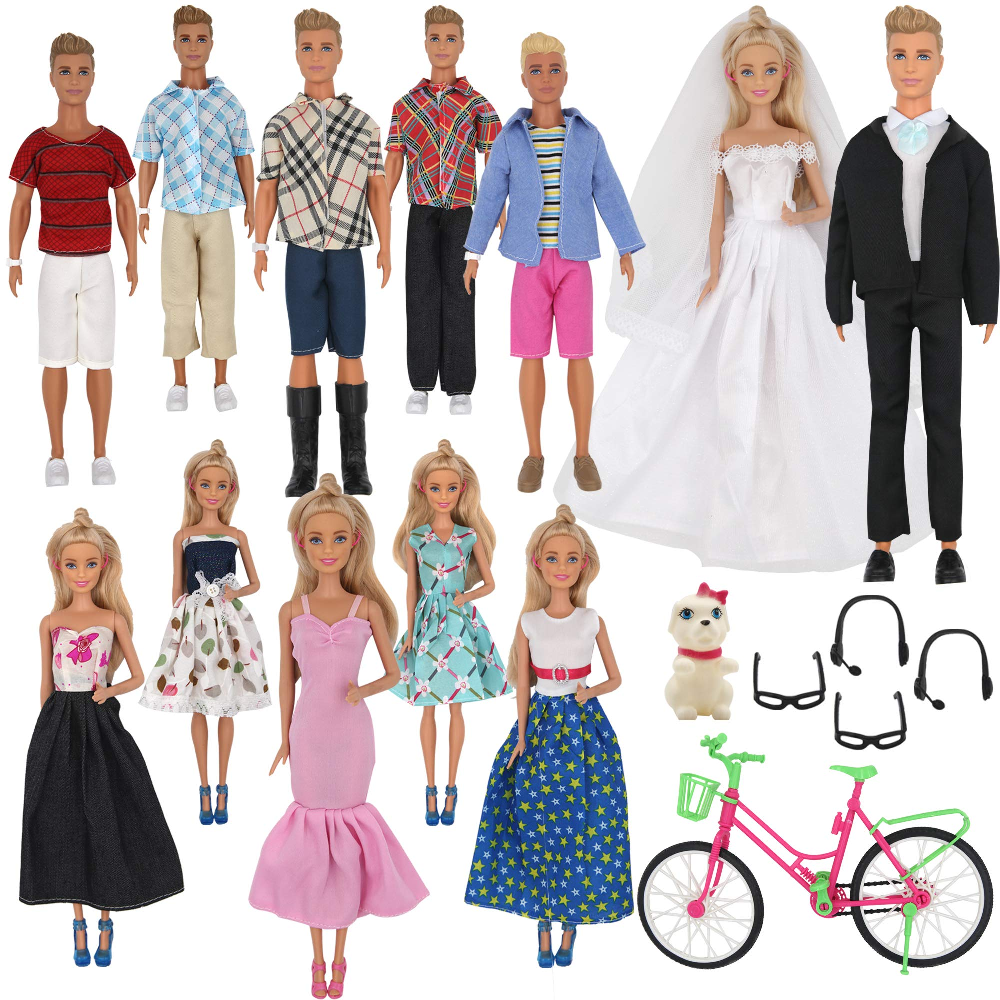 ZTWEDEN 33Pcs Doll Clothes and Accessories for Ken Dolls and Barbie Dolls Includes 20 Wear Clothes Shirt Jeans Suit and Wedding Dresses,Glasses Earphones Dog and Bike for Ken Barbie Doll by ZTWEDEN