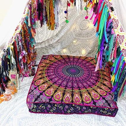 Indio tapiz decorativo funda de almohada, Indian suelo puf Otomano, perro cama hecho a