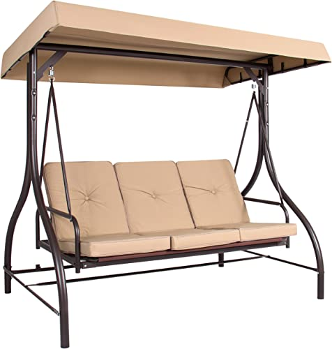 Best Choice Products 3-Seat Outdoor Steel Converting Patio Swing Canopy Hammock w Cushion, Tan