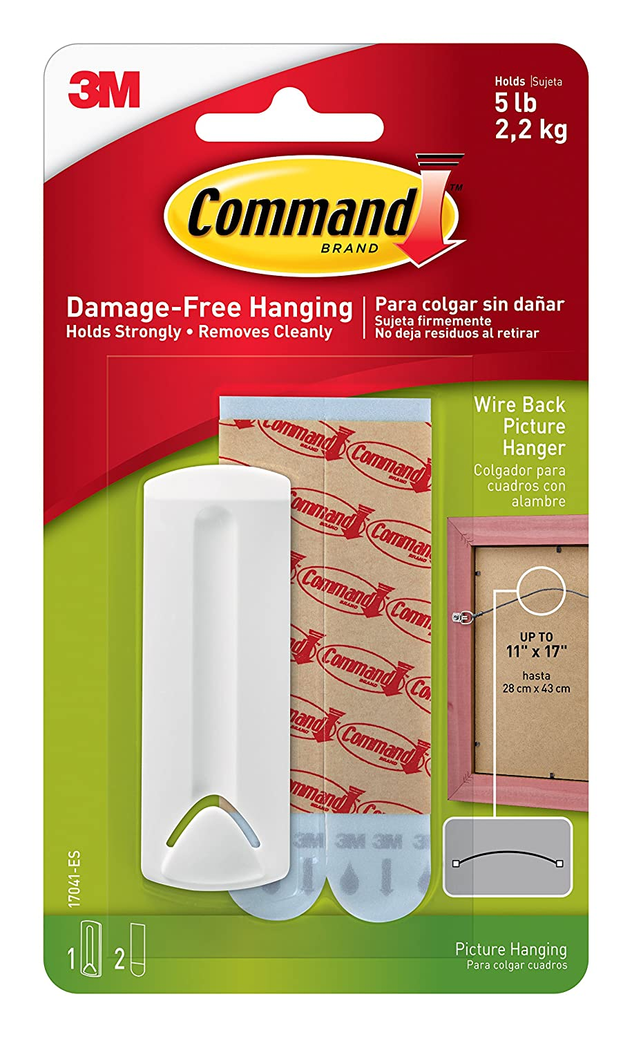 3M Command Hook Wire Backed Picture Hanging Hook - White 17041