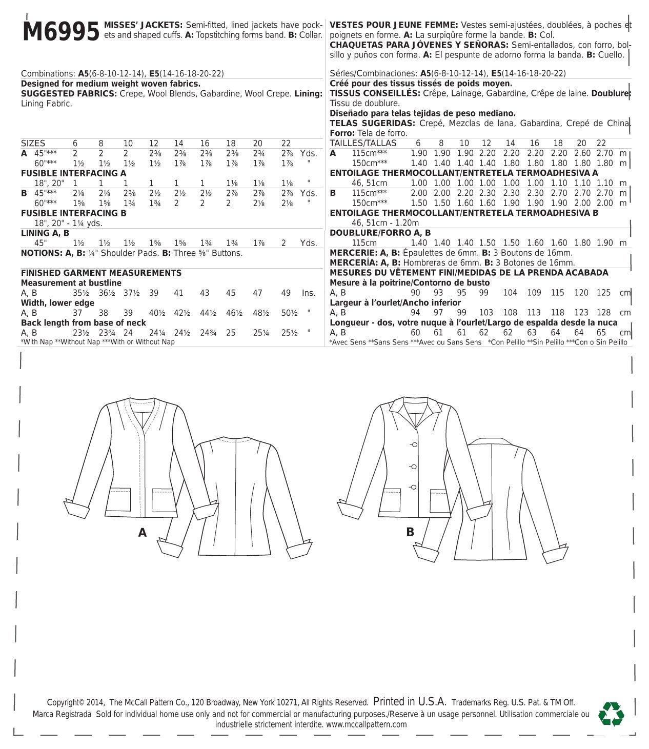 Amazon.com: McCall Pattern Company M6995 Misses Jackets, Size E5 (14-16-18-20-22)