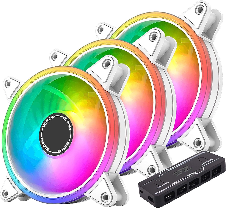 EZDIY-FAB - Ventilador de caja PWM RGB, 120 mm, con buje de ventilador PWM RGB, sincronización de la placa base 5 V, ventilador de ordenador ARGB-3 Pack