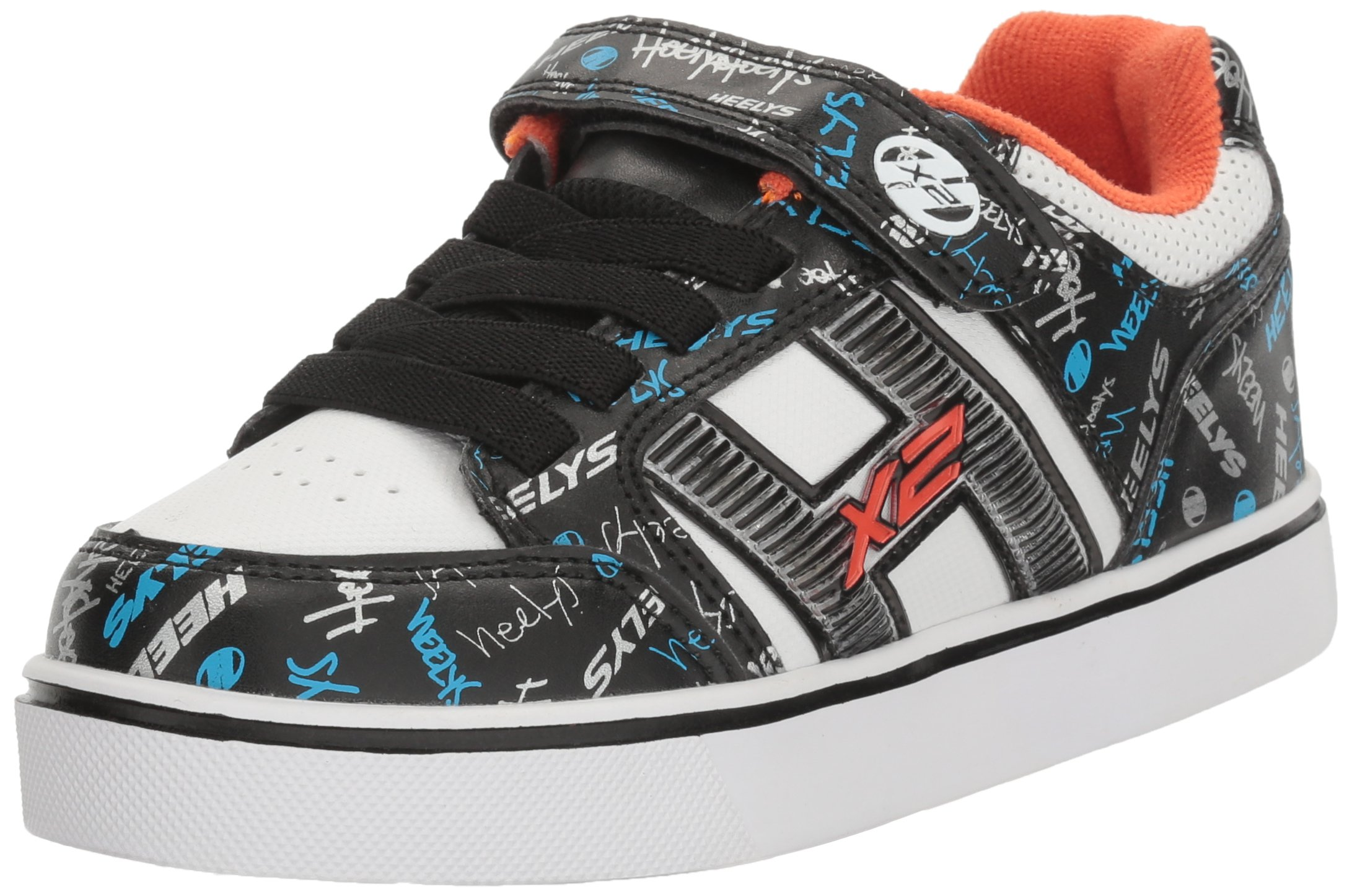 Heelys Boys' Bolt Plus x2 Sneaker, Black/White/Orange, 12 M US Little Kid