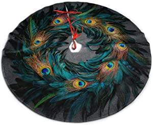 MINIOZE Christmas Wreath Green Blue Peacock Feathers Themed 30 36 48 Inch Big Christmas Plush Tree Skirt Carpet Mat Rugs Cover Large Round Pad Classic Xmas Party Favors Ornament Decoration