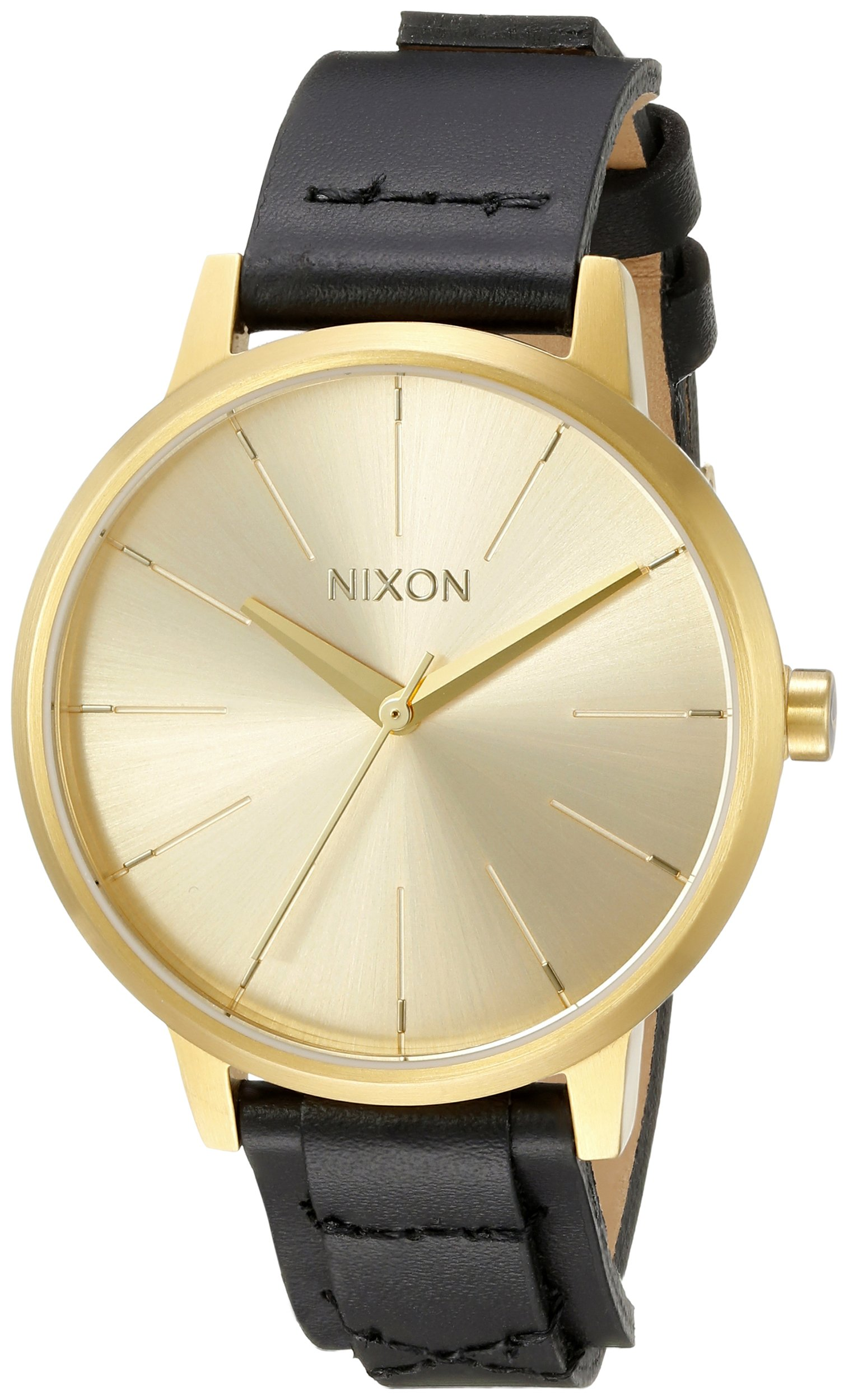 Nixon Women's A1082143 Kensington Gold-Tone Watch with Black Genuine Leather Band by NIXON