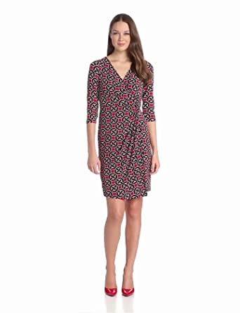 Maggy London Women's Chain Printed Jersey Wrap Dress, Red/Coffee, 4