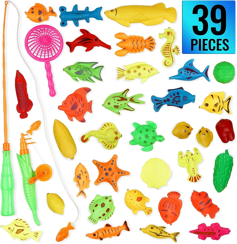 THE TWIDDLERS 39 Pack De Juguete Magnético De La Flotando Pesca con Caña - Educativa Juego Acción Juguetes Reflejo para Bebé Y Niños para El Baño Y como Juguetes De Piscina & Bañera