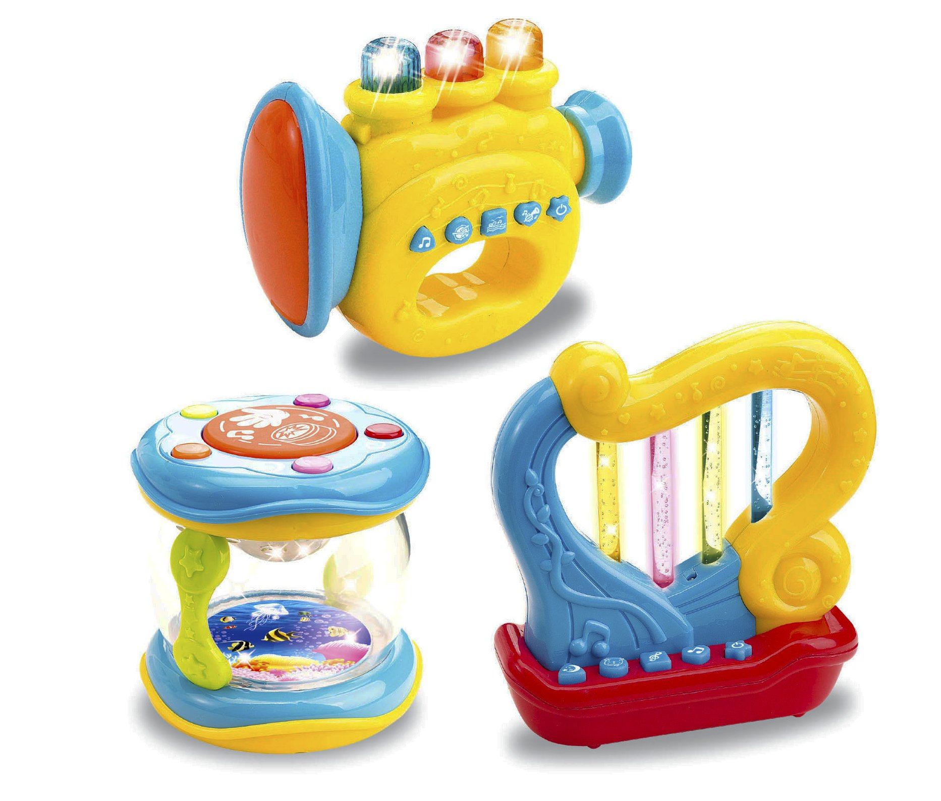 Liberty Imports Musical Toy Instruments for Toddlers Set of 3 Light Up Interactive Drum Trumpet Harp