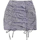 Milumia Women's Elegant Gingham Plaid Drawstring Ruched High Waist Short Bodycon Skirt
