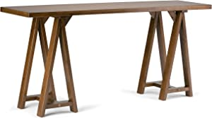Simpli Home 3AXCSAW-03W Sawhorse Solid Wood 66 inch Wide Modern Industrial Wide Console Sofa Table in Medium Saddle Brown