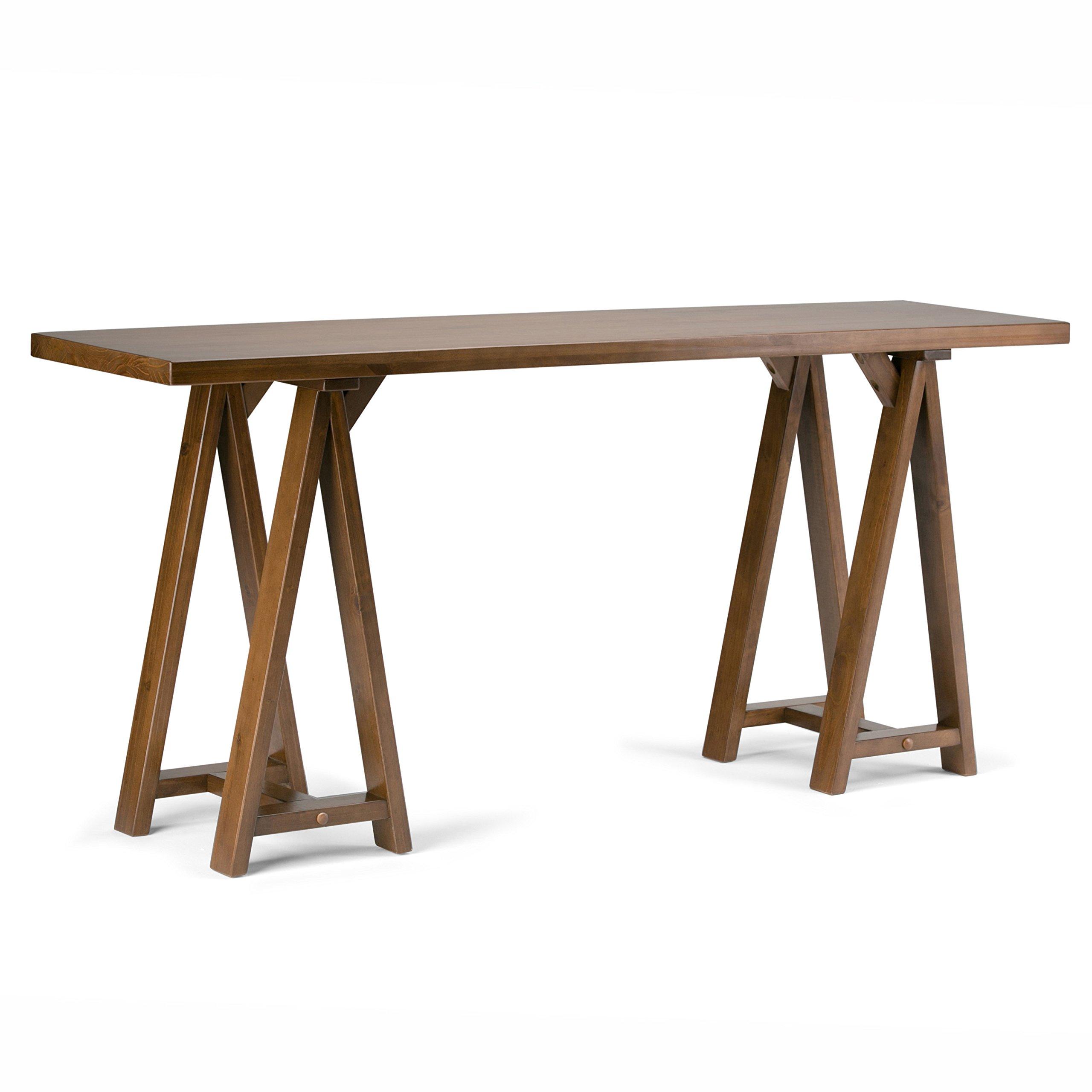 Simpli Home Sawhorse Solid Wood Wide Console Sofa Table, Medium Saddle Brown