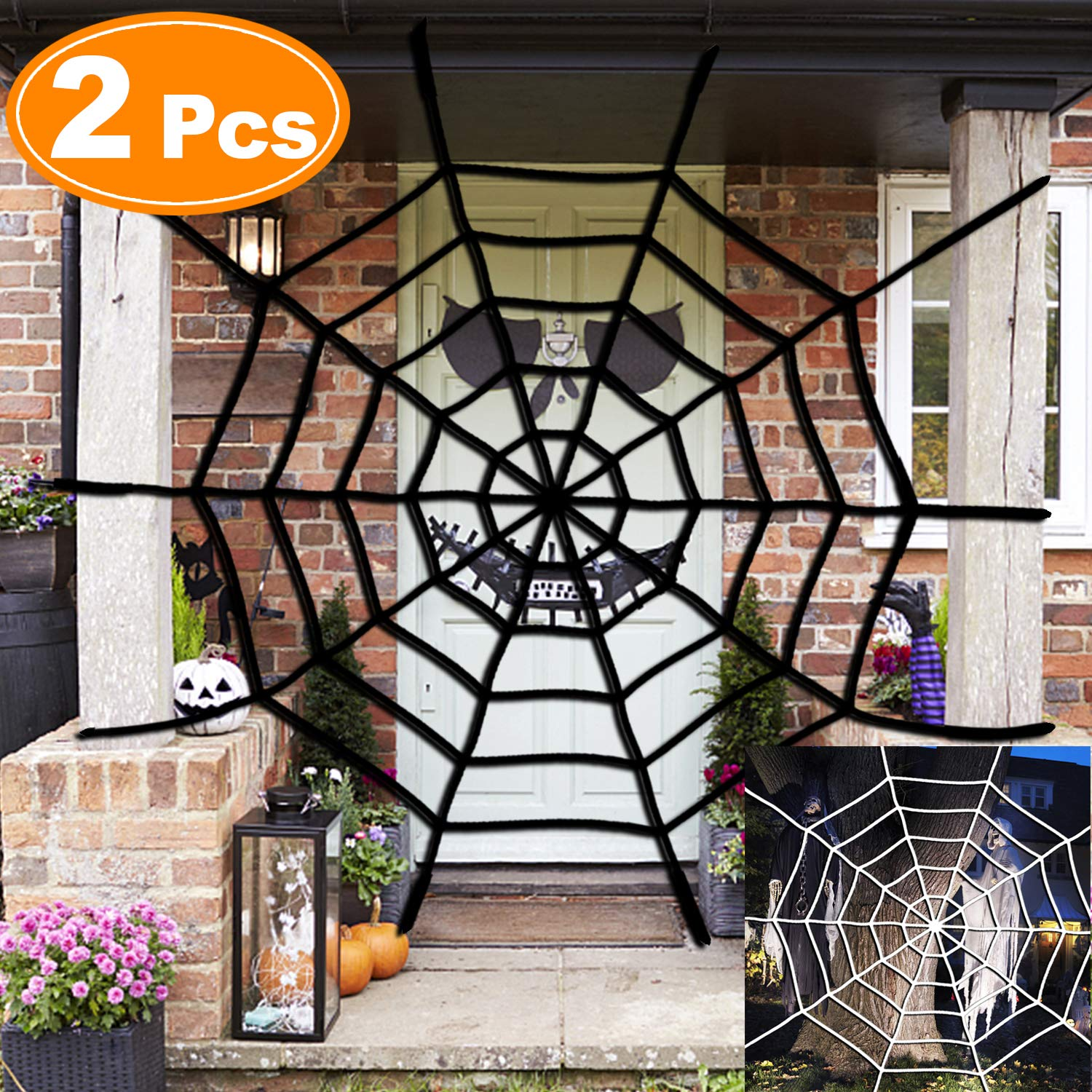 SIXONE 2Pcs Halloween Spider Web 5ft White Black Giant Large Mega Spider webbing Hanging Super Stretch Cobweb Set Halloween Decorations for Party Supplies Outdoor Indoor Window Yard