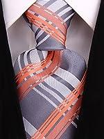 Scott Allan Mens Formal Plaid Necktie - Silver / Gray / Salmon