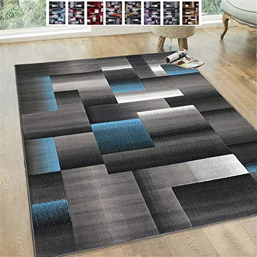 Handcraft Rugs Blue Silver Gray Abstract Geometric Modern Squares Pattern Area Rug 8 ft. by 10 ft.