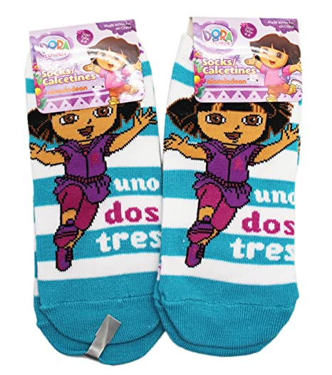 Dora the Explorer Teal/White Striped Kids Socks (2 Pairs, Size 6-