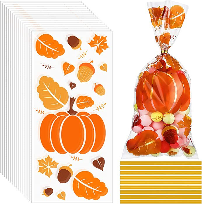 100 Pieces Fall Cellophane Bags Autumn Theme Maple Leaves Pumpkin Filbert Treat Bags Candy Bags Thanksgiving Goodies Bags with 100 Pieces Twist Ties Party Supplies for Thanksgiving Holidays