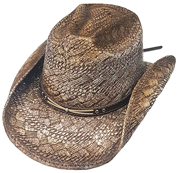 620335c4a0fce7 Modestone Straw Cowboy Hat Diamond Pattern Weave Material Metal Studs  Hatband Beige: Amazon.co.uk: Clothing