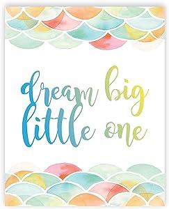 Dream Big Little One, Mermaid Pattern, Gender Neutral Baby Girl Nursery Decor Nursery Print Baby Dream Big Little One First Watercolor Baby Girl Room Art, Watercolor Pattern Wall Decor Baby Nursery