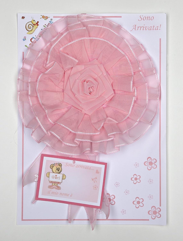 fiocco nascita coccarda in organza rosa B.M ricami s.r.l