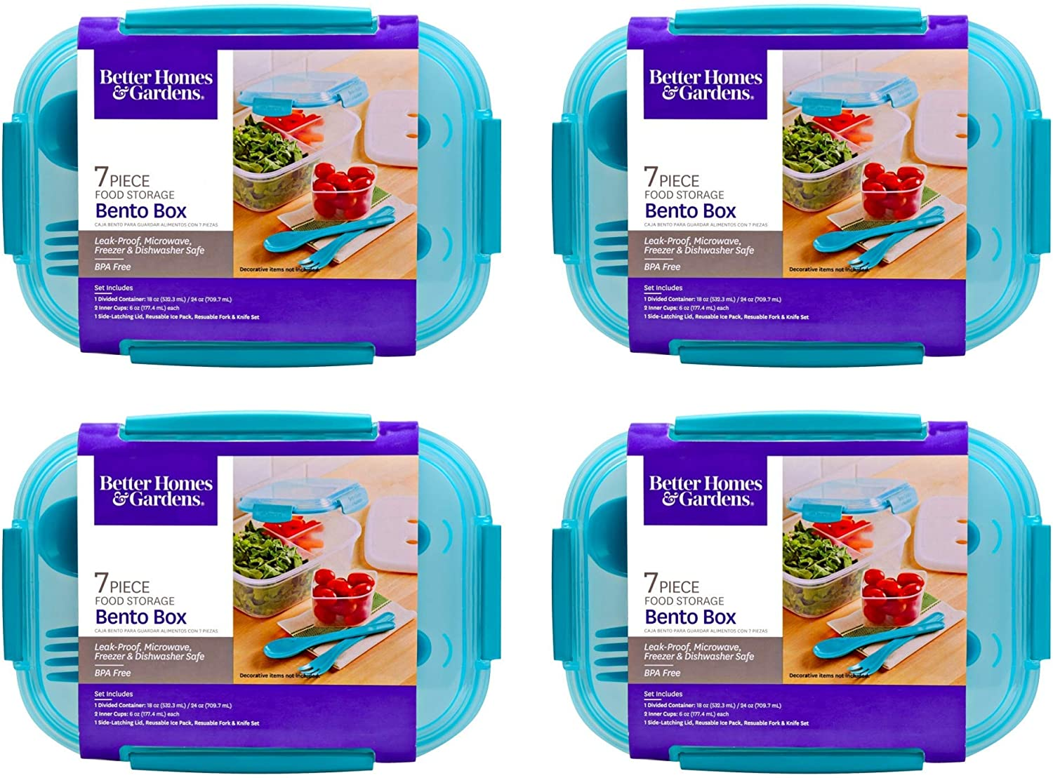 Bento 7 Piece Lunch Box (4 Pack, 8.7 x 6.5 x 3.5 in) Food Storage, Aqua Clear Reusable Dishwasher Microwavable BPA Free