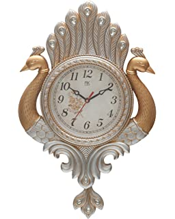 Bazaar Pirates Peacock Pendulum Wall Clock , Wall Watch , Wall Decor (  Silver   Gold