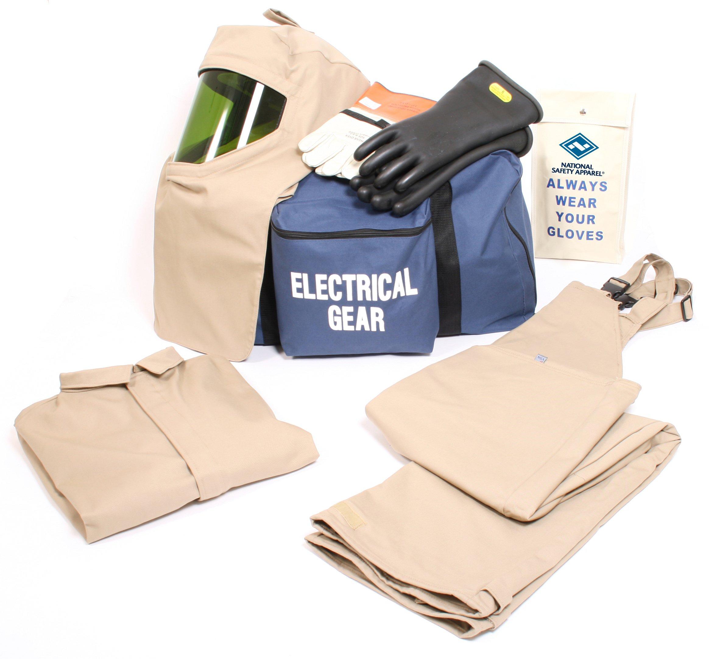 National Safety Apparel KIT4SC40ECXL10 ArcGuard Economy Arc Flash Kit with Short Coat and Bib Overall, 40 Calorie, X-Large/Glove Size 10, Khaki