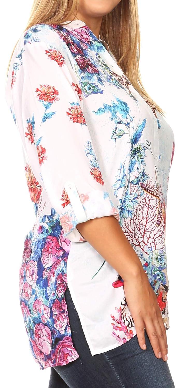 Sakkas Ditta kvinnor Casual Lös Långärmad Print Button Down Shirt Tunik blus Fm214-multi