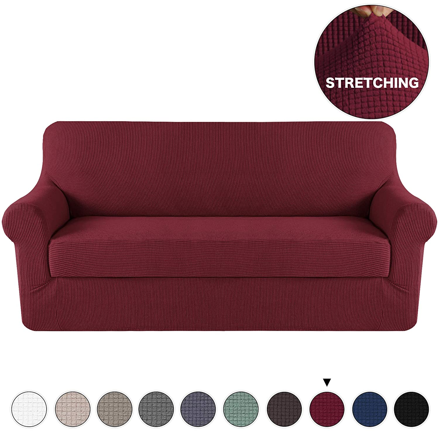 Spandex Sofa Cover Stretch Jacquard Furniture Protector 2 Piece Couch Cover  Burgundy for 3 Seat Couch Slipcover/Protector with Spandex Jacquard ...