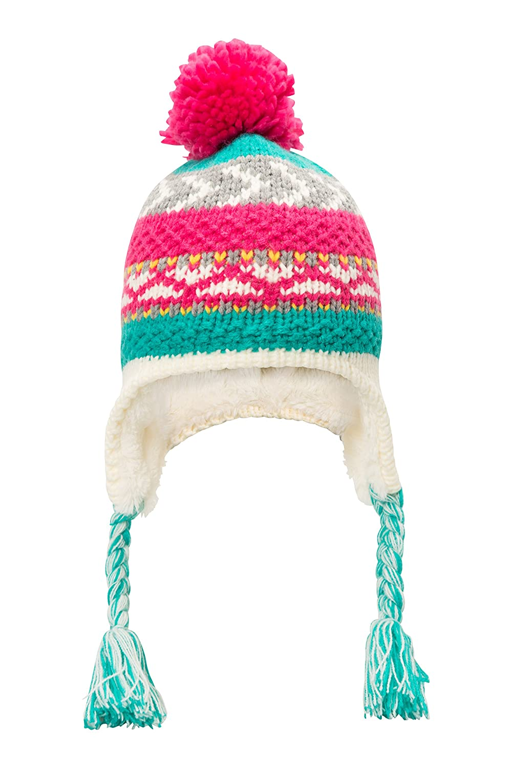 Mountain Warehouse Patterned Stripe Knit Kids Hat - Lightweight, Warm, Knitted & Stretchy Fabric with Double Layer - Great Choice for The Slopes or Everyday Wear Pink 023240040001